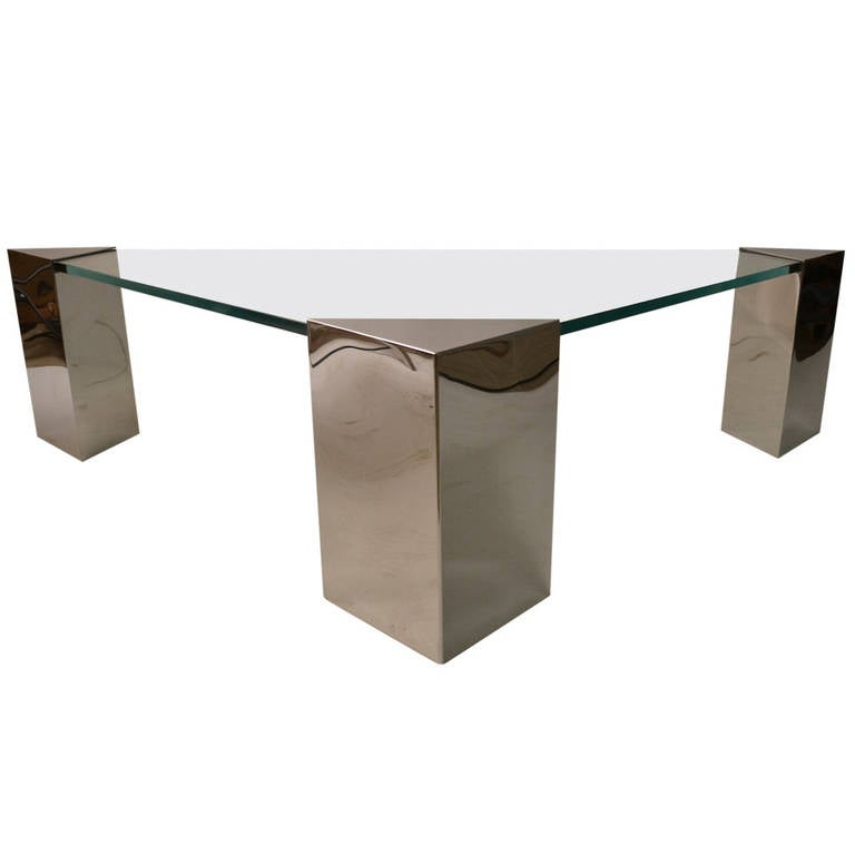 Metal Square Coffee Table With Glass Top And Triangular: Pace Triangular Glass Top Coffee Table At 1stdibs