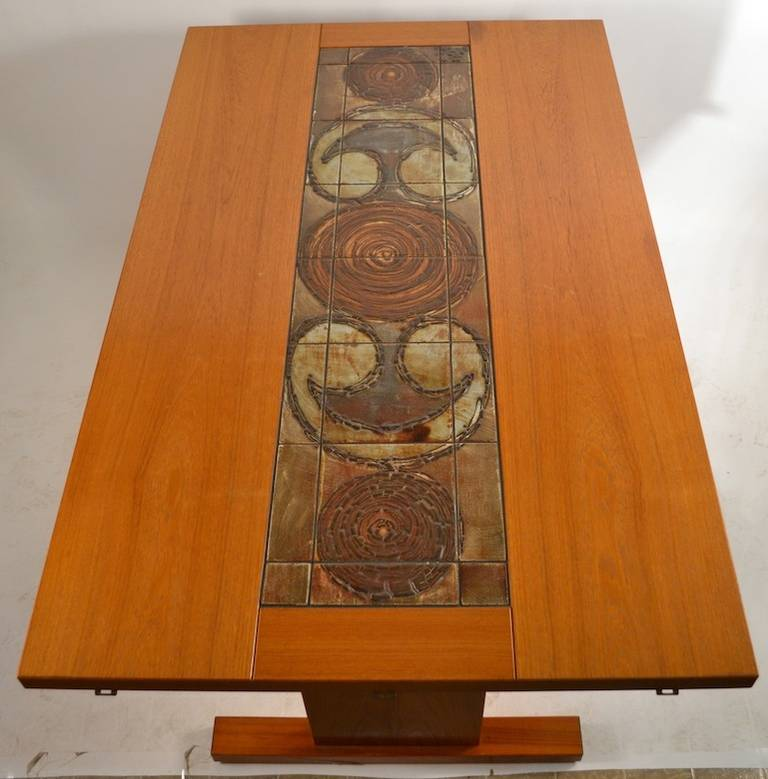 Extra Long Danish Ox Art Drop Leaf Dining Table With Tile