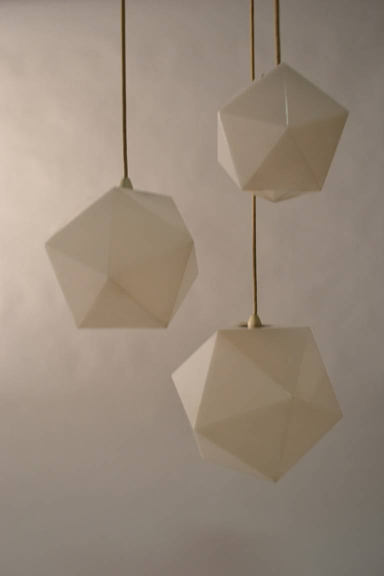 plastic geode three light hanging fixture by frederick