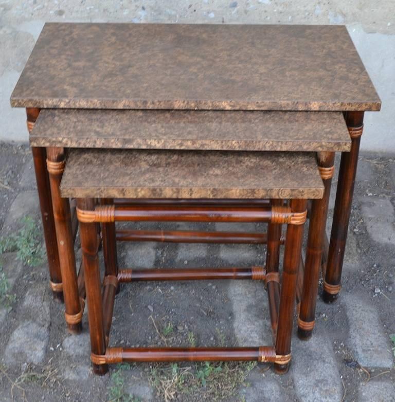 Hollywood Regency Ficks Reed Nesting Tables For Sale