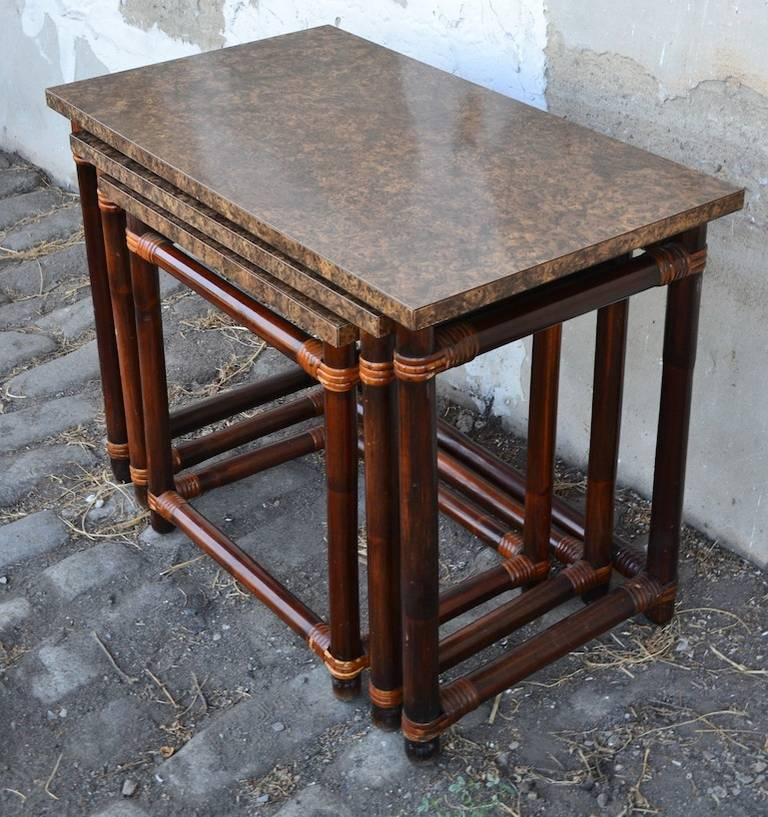 Ficks Reed Nesting Tables In Good Condition For Sale In New York, NY