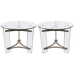 Pair of Charles Hollis Jones Lucite and Glass Tables