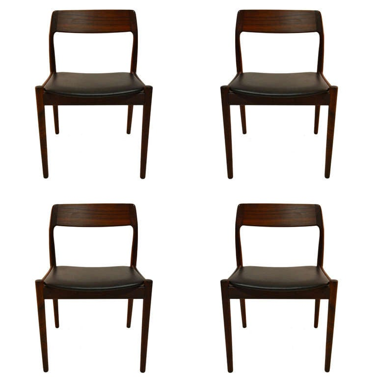 set of four rosewood danish modern dining chairs for sale at 1stdibs