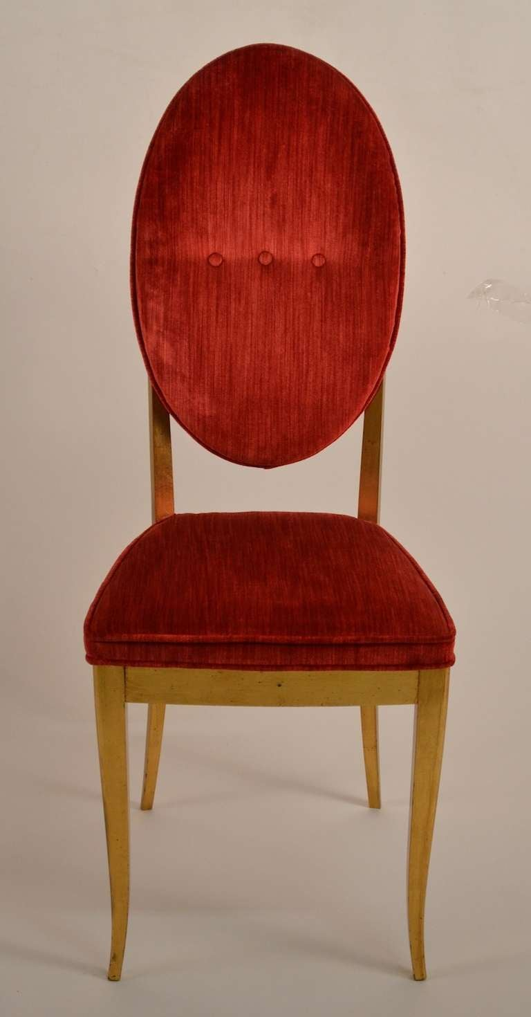 Red velvet chair - Four Gold Gilt And Red Velvet Glam Dining Chairs 2