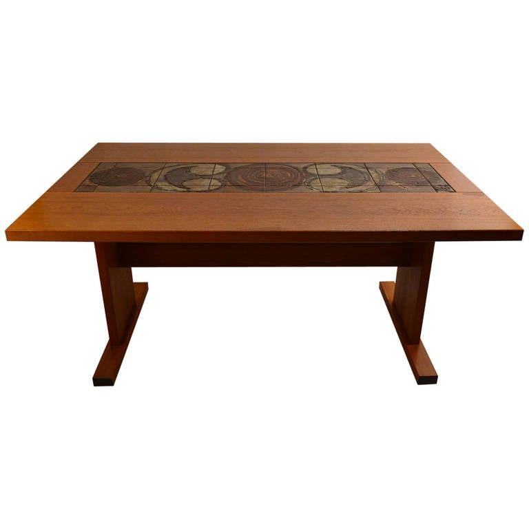 extra long danish ox art drop leaf dining table with tile decoration