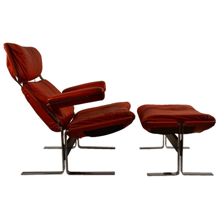 Richard Hersberger for PACE leather chair and ottoman