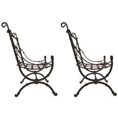 Pair of Spanish Style Mexican Iron Chairs