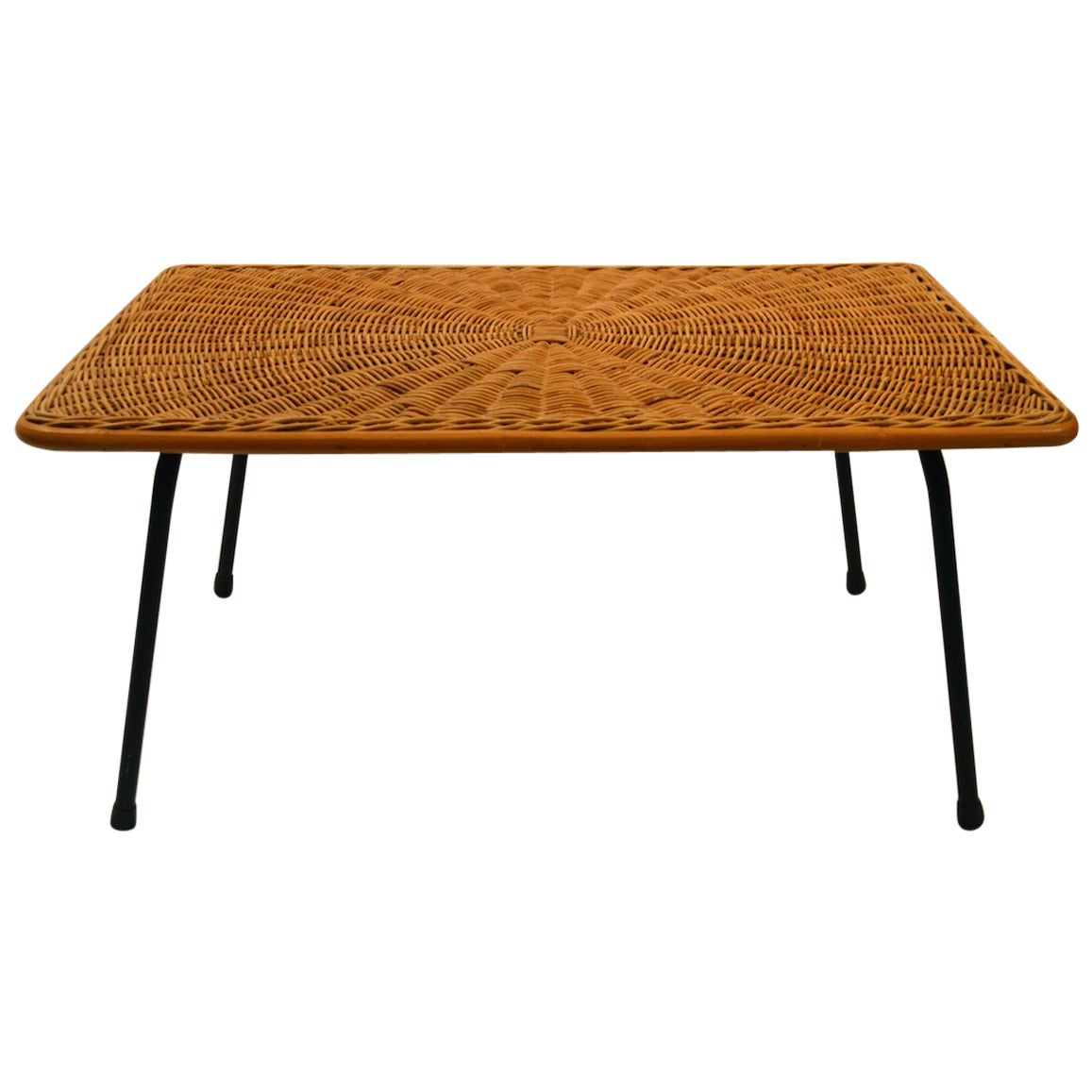 Diminutive Rattan And Iron Coffee Cocktail Table At 1stdibs
