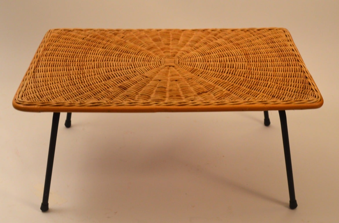 Diminutive rattan and iron coffee cocktail table at 1stdibs for Rattan coffee table