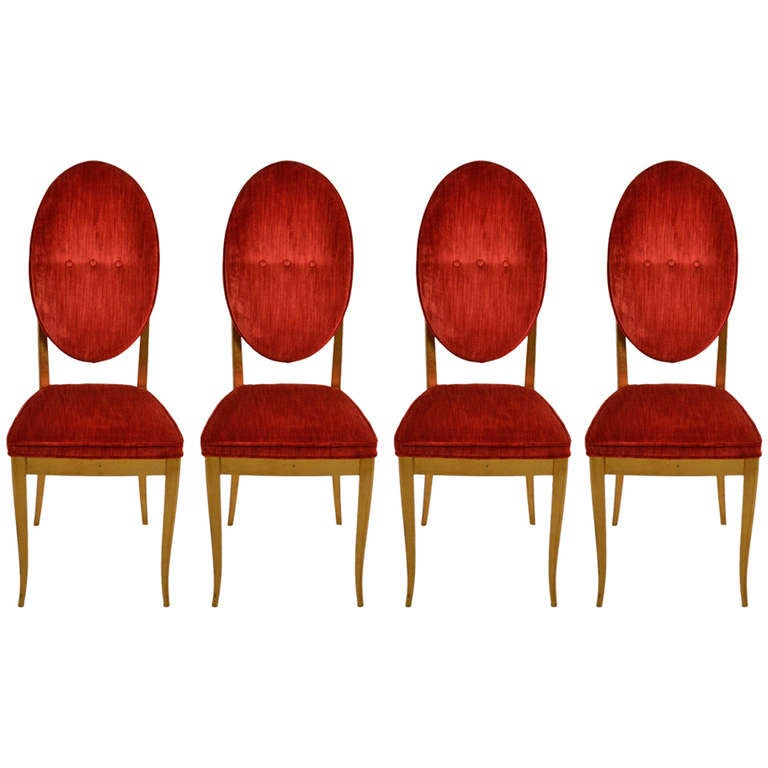 four gold gilt and red velvet glam dining chairs 1