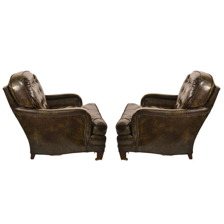 Pair Leather Club Chairs at 1stdibs