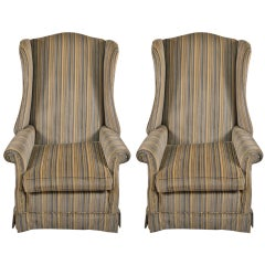 Pr Hollywood Regency High Back Wing Chairs
