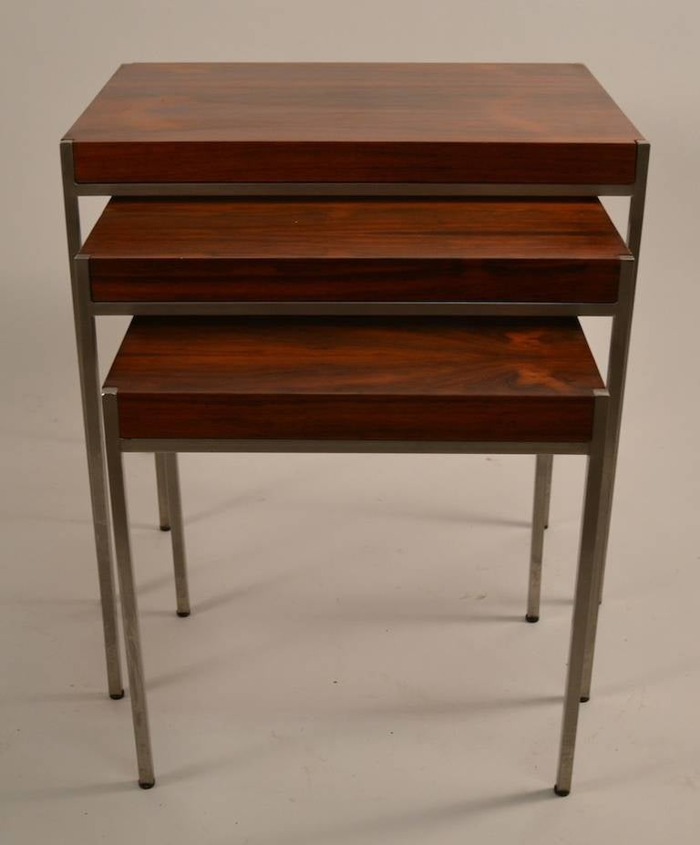 Stackable Nesting Tables ~ Rosewood and steel stacking nesting tables made in italy