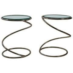 Pair of Rosen for Pace Chrome Spring Tables