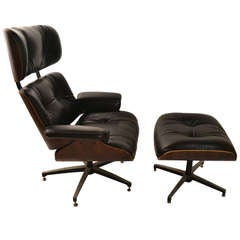 George Mulhauser For Plycraft Leather and Rosewood Lounge Chair and Ottoman