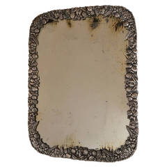 Large Victorian Silver Plate Easel Mirror