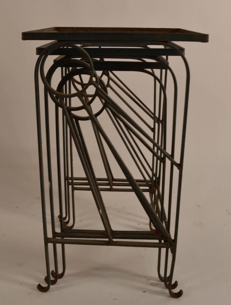 Salterini Patio Furniture Parts: Salterini Nest Of Wrought Iron Garden Tables At 1stdibs