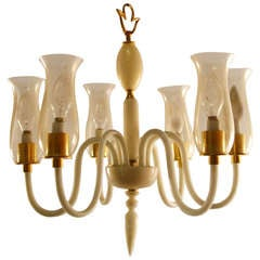 Six Light Murano Chandelier After Ponti