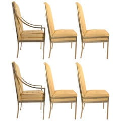 Set of Six Aluminum Frame High Back Dining Chairs