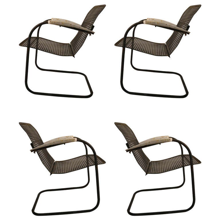 Set Of Four Cantilevered Metal Mesh Outdoor Garden Spring Chairs 1