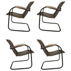 Set of Four Cantilevered Metal Mesh Outdoor Garden Spring Chairs