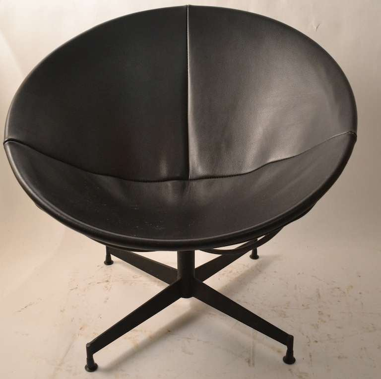 Merveilleux Black Leather Seat And Back, Steel Rod, And Iron Base. The Chair Swivels