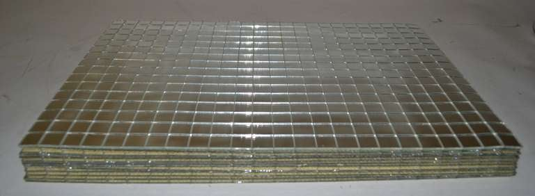 12 Pc Mirrored Placemats Grid Pattern ca 1970s 5