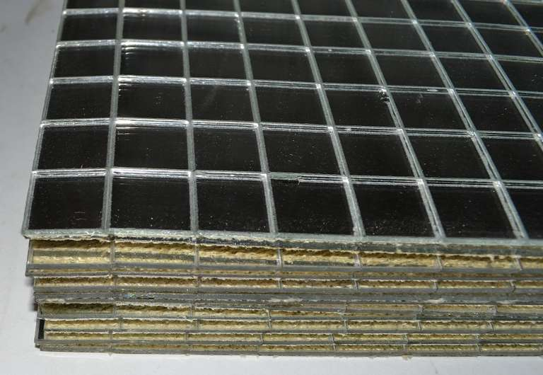American 12 Pc Mirrored Placemats Grid Pattern ca 1970s For Sale