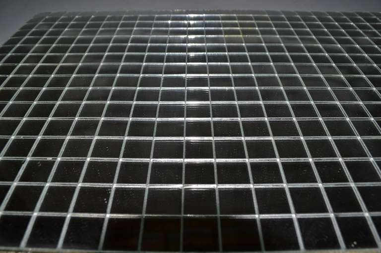 Art Deco 12 Pc Mirrored Placemats Grid Pattern ca 1970s For Sale