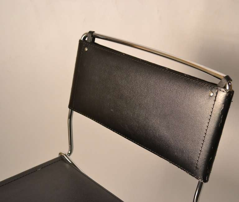 Set Of Four Italian Black Leather And Chrome Counter
