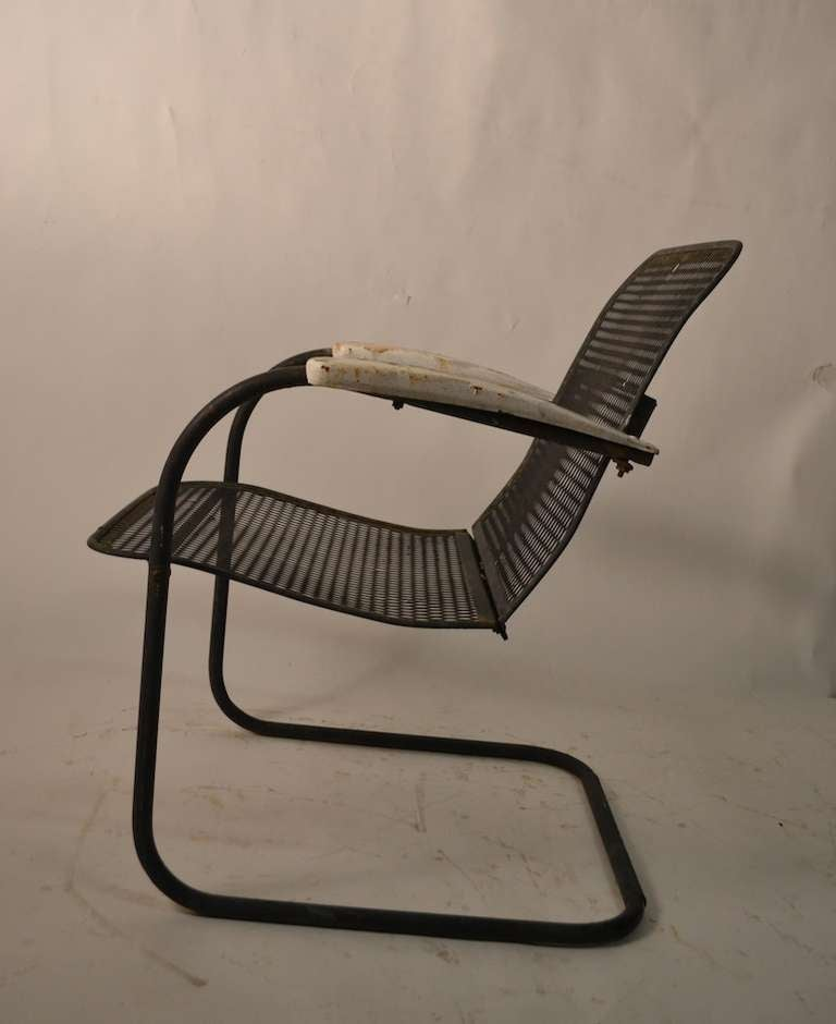 Set of Four Cantilevered Metal Mesh Outdoor Garden Spring Chairs at 1stdibs