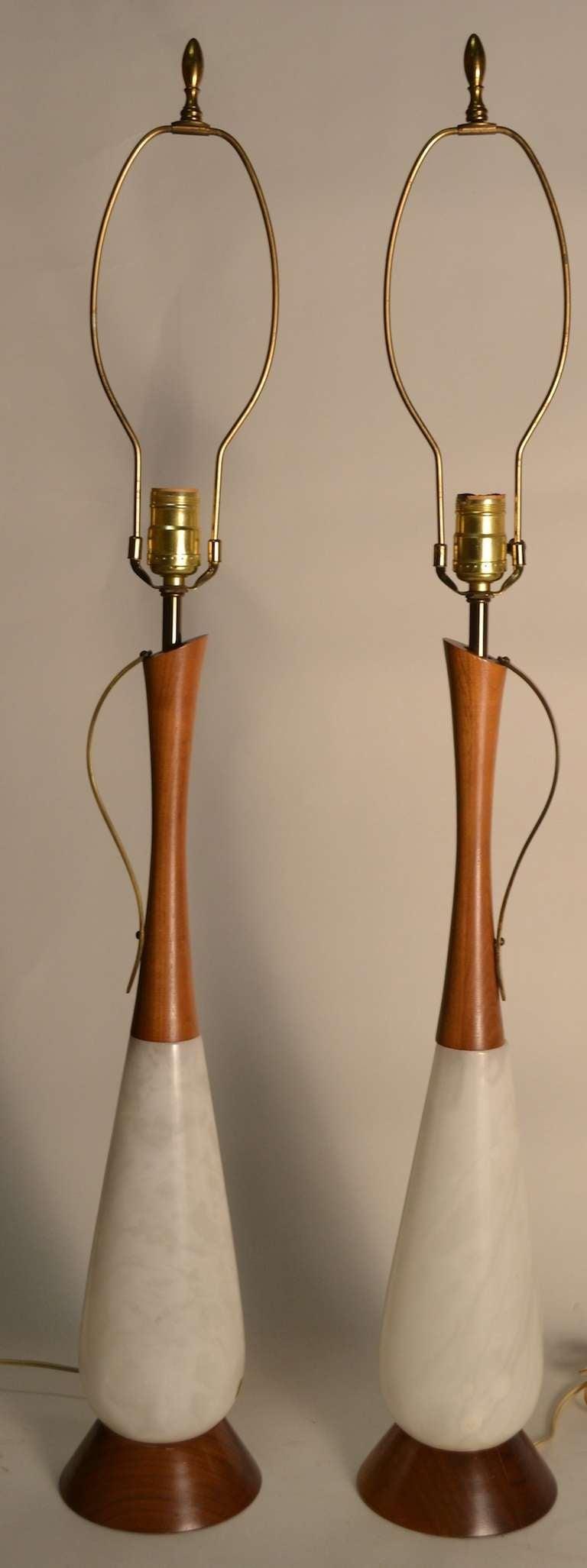pair teak and alabaster mid century modern lamps made in italy at  - pair teak and alabaster mid century modern lamps made in italy
