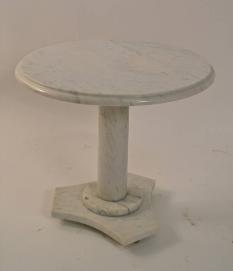 Italian Solid Marble Pedestal Top Table For Sale