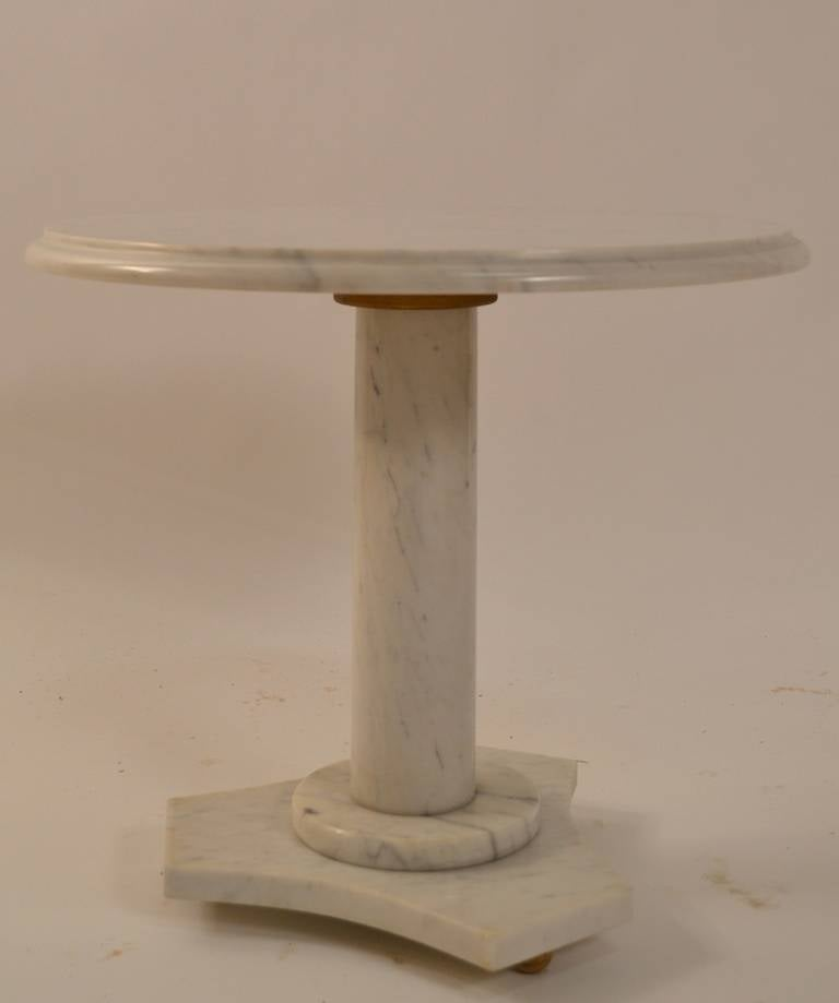 Italian marble top pedestal top stand with columnar pedestal and tr-ipart foot base. Classical style, probably 1950's or 60's manufacture.