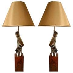 Pair Laurel Brutalist Lamps
