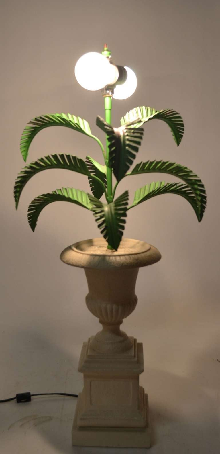 Metal Palm Tree Lamp Mounted In Campagna Urn Form Base For