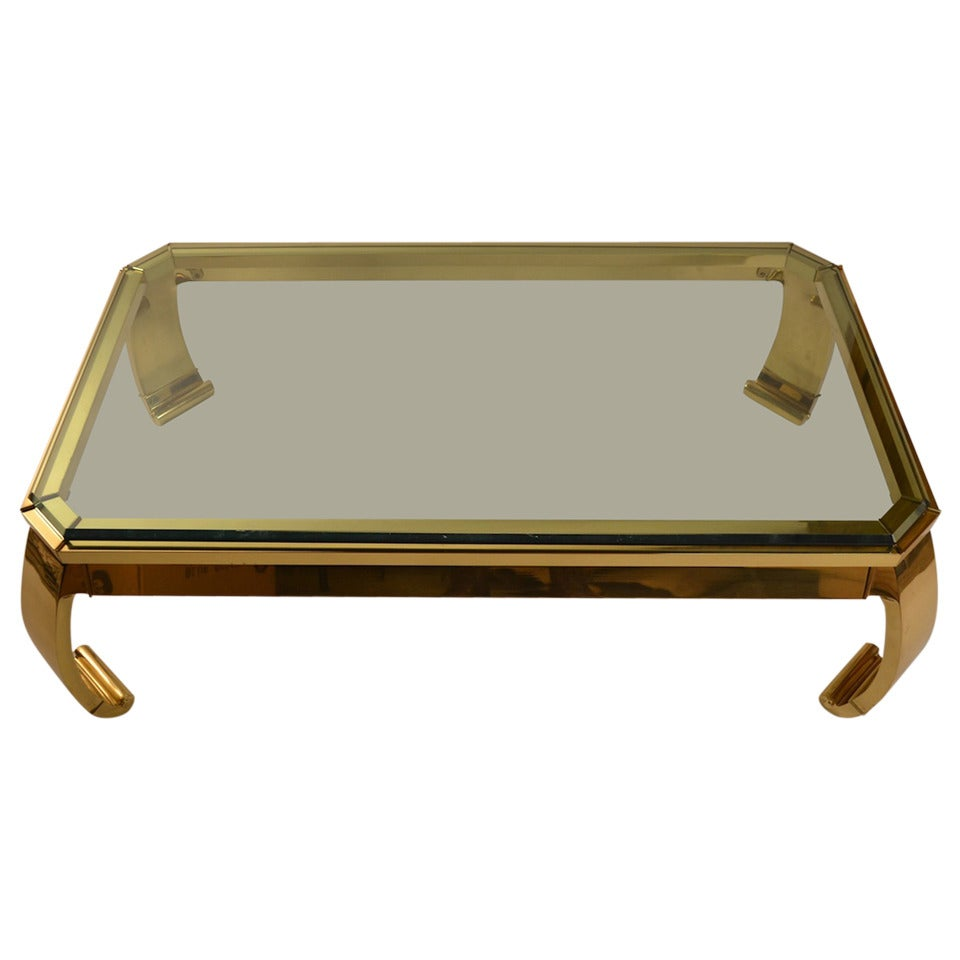Asia Modern Brass Base Glass Top Coffee Table Made In