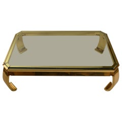 Asia Modern Brass Base Glass Top Coffee Table Made in Italy