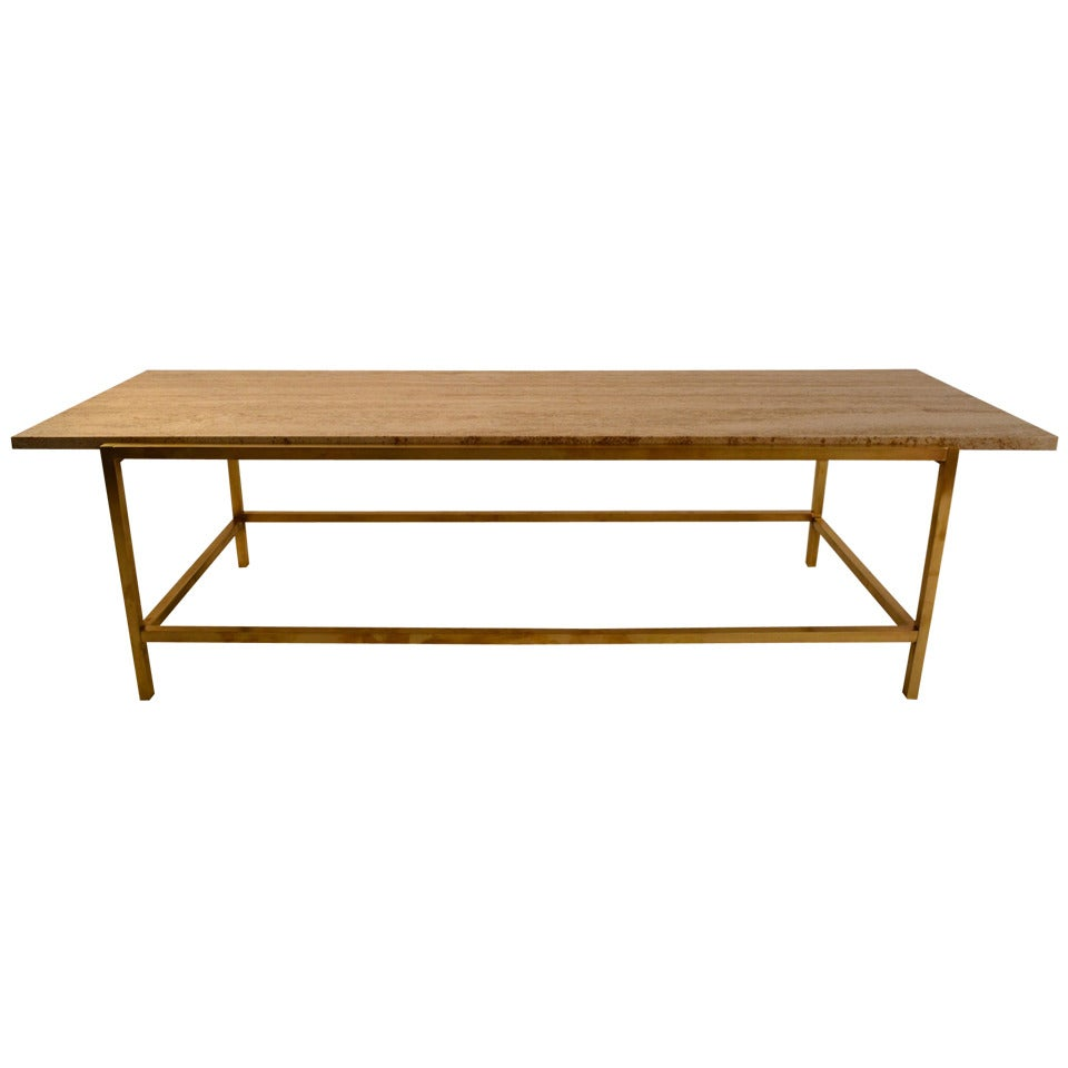 Brass Base Travertine Top Cocktail Coffee Table At 1stdibs