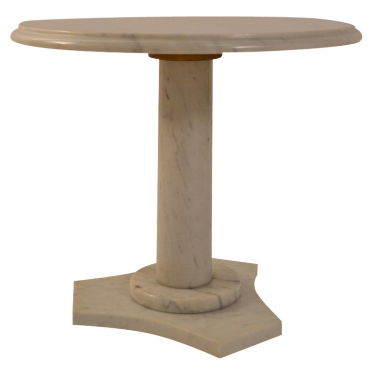 Solid Marble Pedestal Top Table For Sale