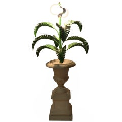 Metal Palm Tree Lamp Mounted in Campagna Urn form base