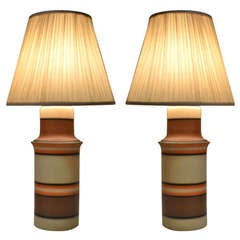 Pair OP ART Style Banded Ceramic Table Lamps