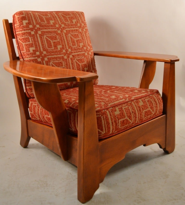 Cushman maple paddle arm lounge chair at stdibs