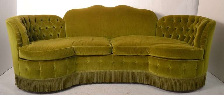 Chartreuse Velvet Fabric, With Fringe Trim, Tufted And Finely Detailed  Upholstery.