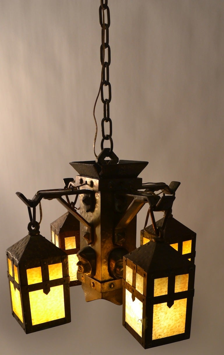Arts and Crafts Mission Monk Chandelier at 1stdibs