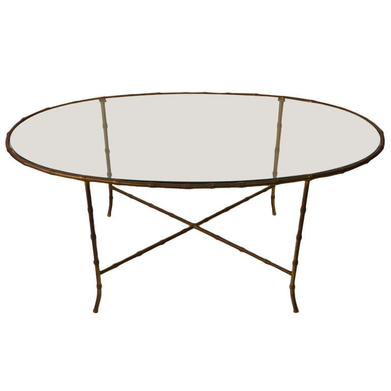 Brass Faux Bamboo Oval Glass Top Coffee Table At 1stdibs