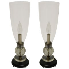 Pair Black and Chrome Art Deco Hurricane Boudoir Lamps