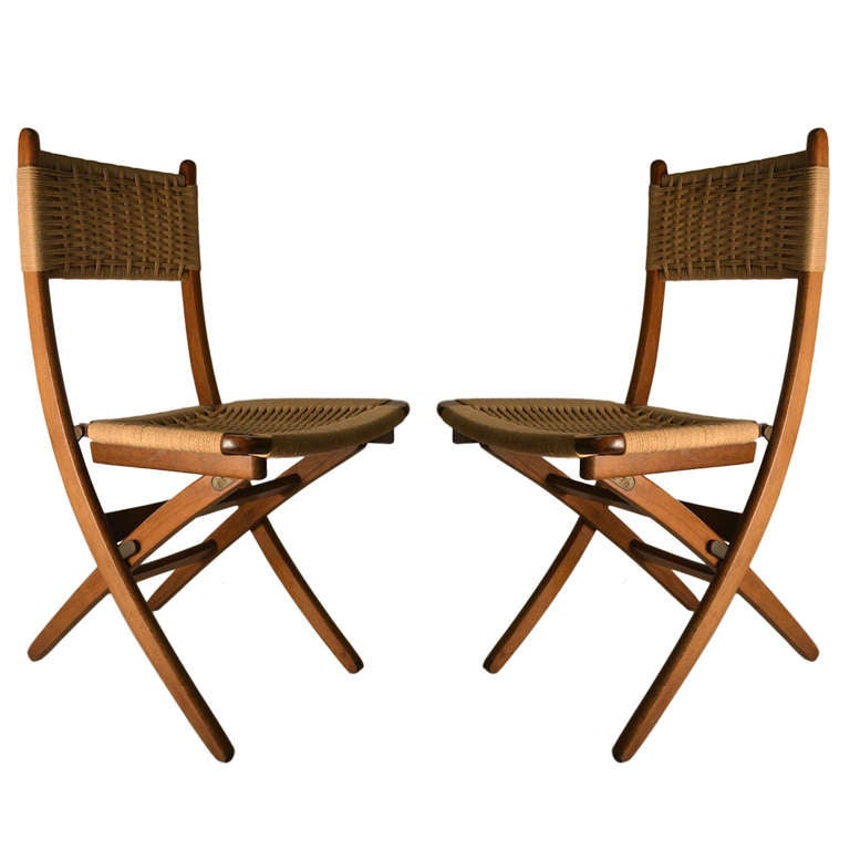 Beautiful Pair Folding Side Chairs With Jute Weave Seats And Backs For Sale