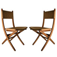Pair Folding Side Chairs with Jute Weave Seats and Backs