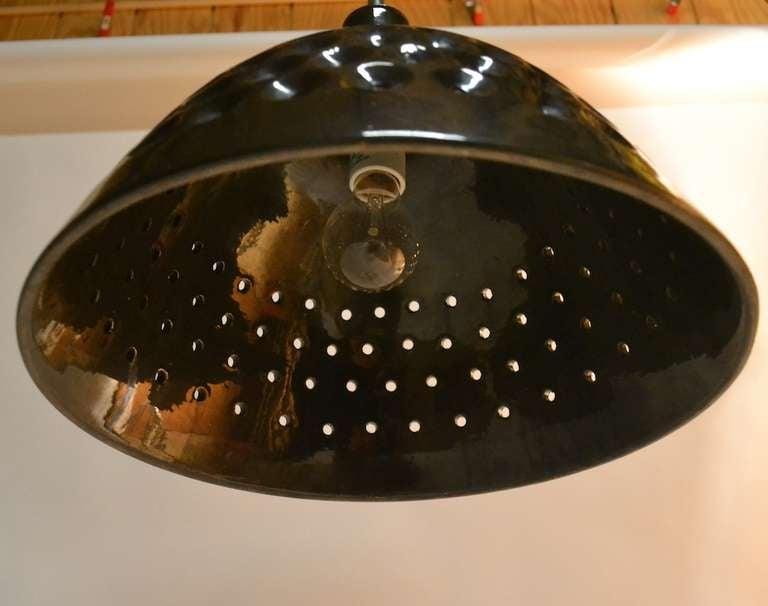 Perforated Ceramic Hanging Light On Brass Tube Stem At 1stdibs